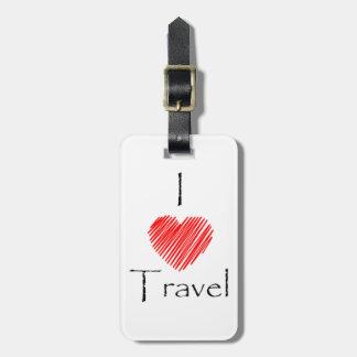 I Love Travel Luggage Tag