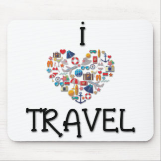 I Love Travel Mouse Pad