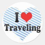 I Love Traveling Round Sticker