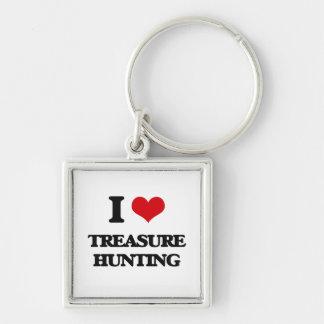 I love Treasure Hunting Silver-Colored Square Keychain