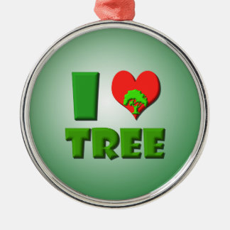I Love Tree Metal Ornament