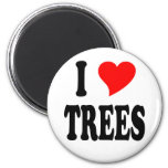 I LOVE TREES 2 INCH ROUND MAGNET