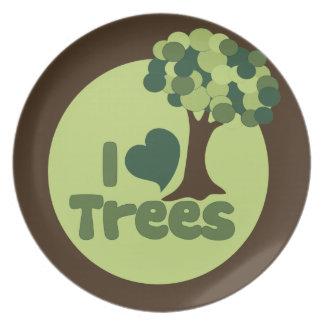 I Love Trees Melamine Plate