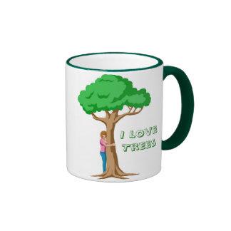 I Love Trees Ringer Coffee Mug