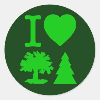 I Love Trees Round Sticker