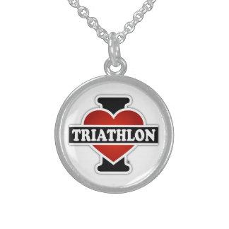 I Love Triathlon Sterling Silver Necklace