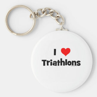 I Love Triathlons Basic Round Button Keychain