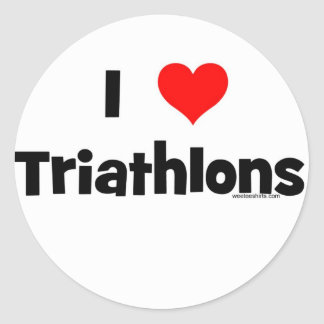 I Love Triathlons Classic Round Sticker