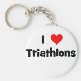 I Love Triathlons Keychain