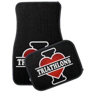 I Love Triathlons Car Mat