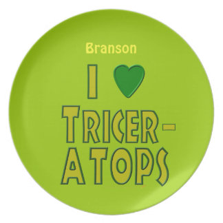 I Love Triceratops Dinosaur Custom Name Plate