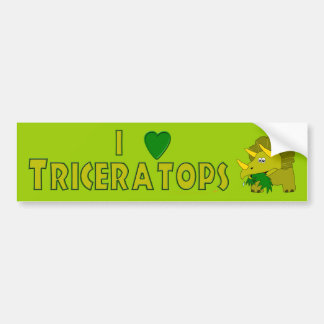 I Love Triceratops Dinosaur Lovers Cute Cartoon Bumper Sticker