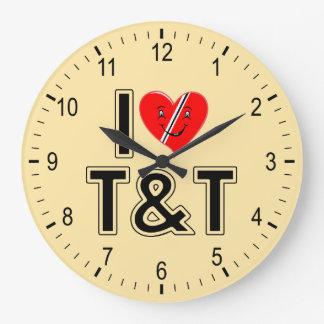 I Love Trinidad and Tobago Heart Large Clock
