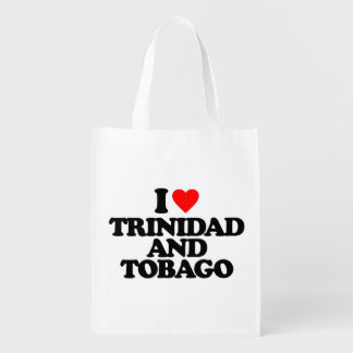 I LOVE TRINIDAD AND TOBAGO REUSABLE GROCERY BAGS