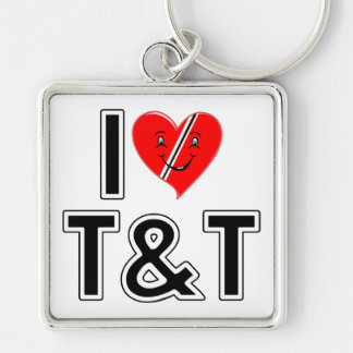 I Love Trinidad and Tobago Silver-Colored Square Keychain