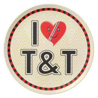 I Love Trinidad & Tobago Heart Melamine Plate