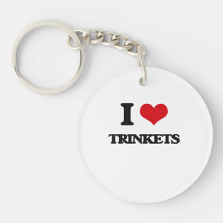 I love Trinkets Single-Sided Round Acrylic Keychain