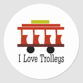 I Love Trolleys Classic Round Sticker