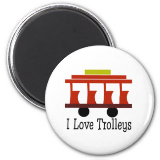 I Love Trolleys 2 Inch Round Magnet