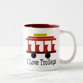 I Love Trolleys Two-Tone Coffee Mug