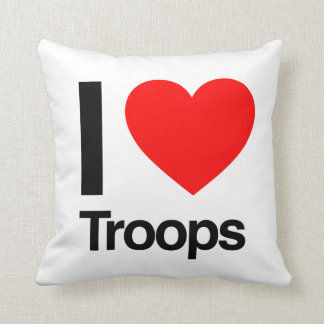 i love troops throw pillows