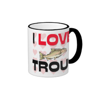 I Love Trout Ringer Coffee Mug