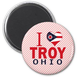 I love Troy, Ohio 2 Inch Round Magnet