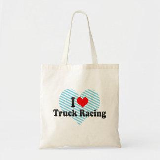 I love Truck Racing Budget Tote Bag
