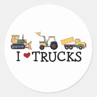 I Love Trucks Classic Round Sticker