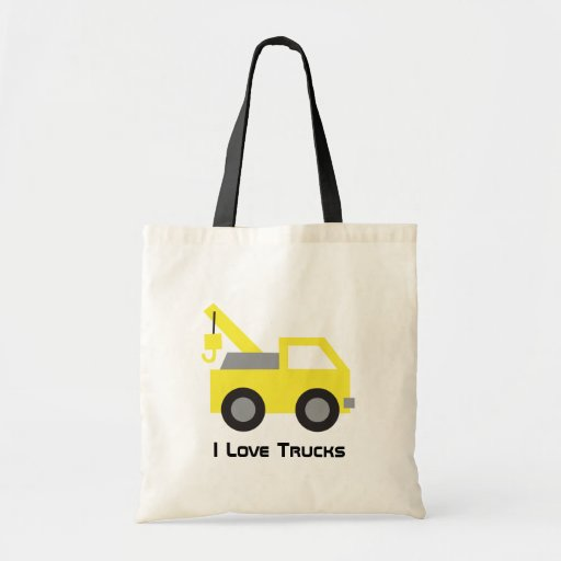 I love Trucks, Cute Yellow Vehicle for kids Canvas Bags