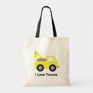 I love Trucks, Cute Yellow Vehicle for kids Budget Tote Bag