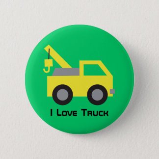 I love Trucks Cute Yellow Vehicle for kids Button