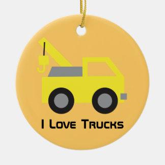 I love Trucks, Cute Yellow Vehicle for kids Ceramic Ornament