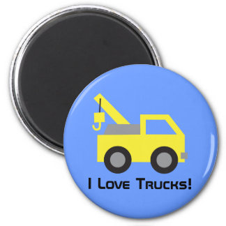 I love Trucks, Cute Yellow Vehicle for kids 2 Inch Round Magnet