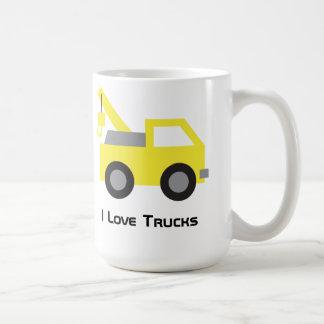 I love Trucks, Cute Yellow Vehicle for kids Classic White Coffee Mug
