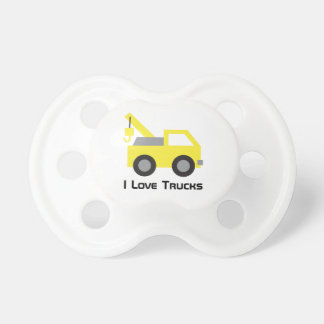 I love Trucks, Cute Yellow Vehicle for kids Pacifier