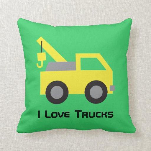 I love Trucks, Cute Yellow Vehicle for kids Throw Pillows