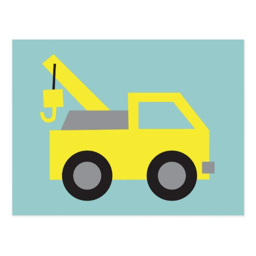 I love Trucks, Cute Yellow Vehicle for kids Post Cards