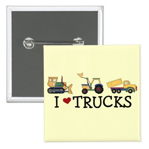 I Love Trucks T-shirts and Gifts Button