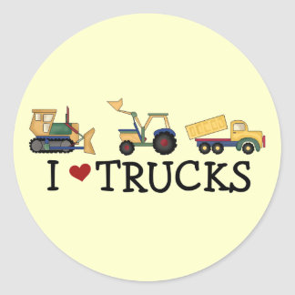 I Love Trucks T-shirts and Gifts Classic Round Sticker