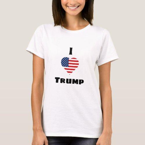 I Love Trump American Flag Heart T_Shirt