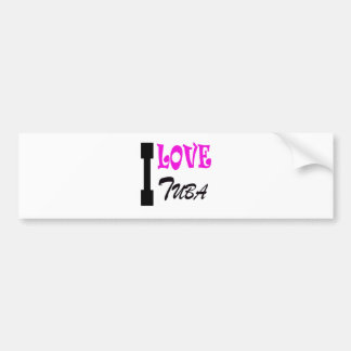 I Love tuba Car Bumper Sticker