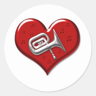 I Love Tuba Classic Round Sticker