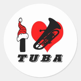 I Love Tuba Design Classic Round Sticker