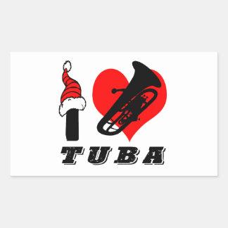 I Love Tuba Design Rectangular Sticker
