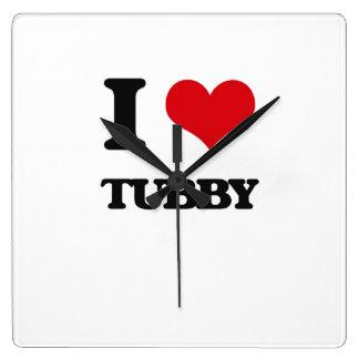 I love Tubby Square Wall Clock