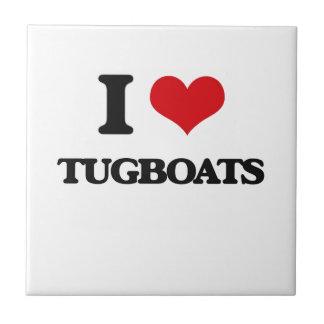 I love Tugboats Small Square Tile
