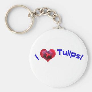 I love tulips blue key chain