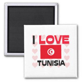 I Love Tunisia 2 Inch Square Magnet
