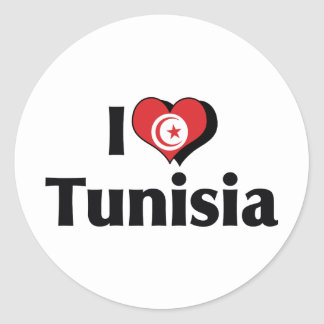 I Love Tunisia Flag Classic Round Sticker
